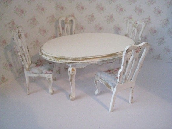 Doll house Table and four  chairs, Tatty  chic,with gold trims and rose bouquets, twelfth scale miniature