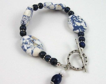 Speckled Blue and White bracelet, mixed gemstone beads with sterling silver