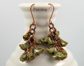 Rustic Floral earrings, green glass beaded dangles on copper chain and wire
