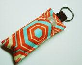 Lip Balm Key chain, Chapstick Holder, fabric chap stick cozy keychain,keyfob ChapStick Keychain,keyfob, ipstick case cozy-Orange Teal Octi