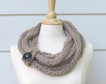 Knit scarf, chunky cowl scarf, taupe brown infinity scarf with button closure, circle scarf, women's winter accessory, knit rope scarf