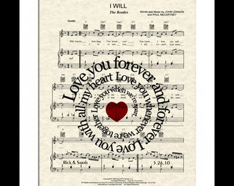 The Beatles I Will  (Love You Forever) Song Lyric Sheet Music Art Print,  Beatles Love Song, Custom Wedding Gift, Custom Anniversary Gift