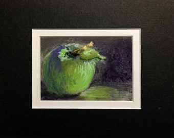 Green Apple - small format original pastel painting, matted to 5 x 7