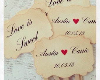 Wedding cupcake toppers, Personalized wedding, Save the dates