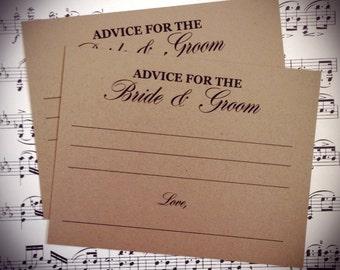 Wedding Advice cards, Bride and Groom advice cards, Mr. and Mrs. Advice cards, Advice cards