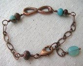 Infinity Copper Aqua Bracelet