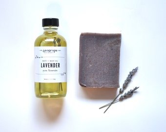 Mini Soothing Lavender Gift Set. Mother's Day. Soap. Body Oil. Spa Gift Set. Small batch. 100% Natural