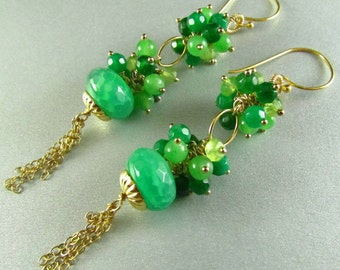 Green Quartz, Emeralds and Jade Earrings, Long Green and Gold Earrings