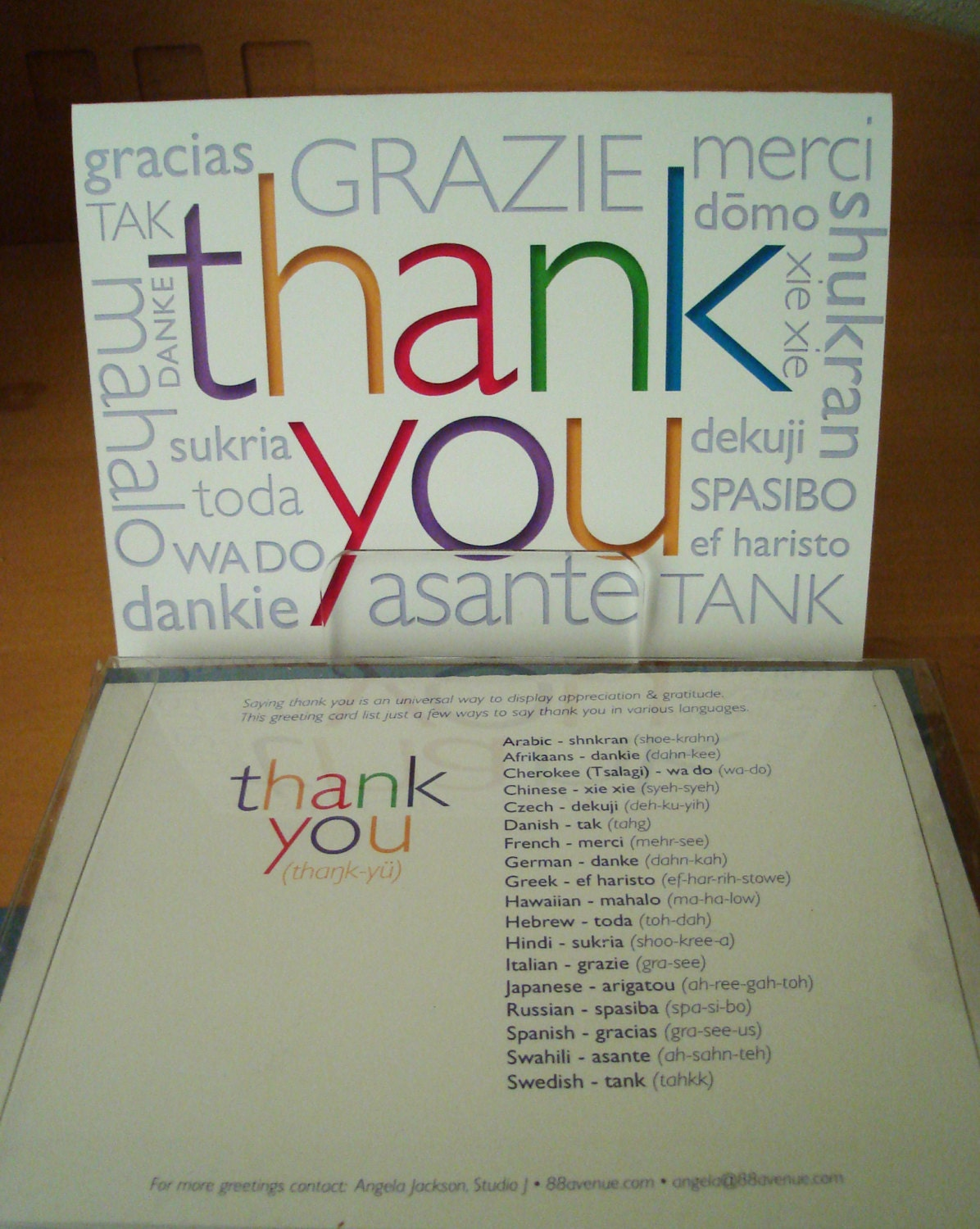 Thank You Greeting Cards In Different Languages 6 Card Set