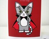 Vampire Cat I Vant Candy Halloween Greeting Card