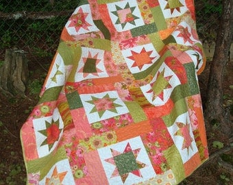 Pink Orange and Green Floral Star Twin Quilt