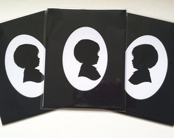 THREE Custom Silhouettes in THREE 8x10 inch Black Mats with Oval Cut Opening