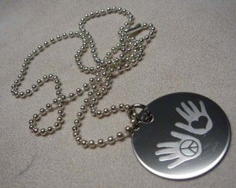 Peace and Love necklace Engraved stainless steel Peace symbol-peaceful hands