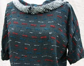 Unique 60's Dress - Handmade Gray Sheath Short Sleeved - Women's M