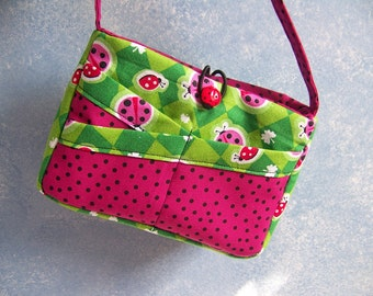 Child's Ladybug Purse Hot Pink and Green great for Spring and Summer finished item