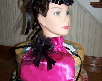 Ladies Hat Hot Pink and black Satin Victorian Civil War Hat teardrop with Black ribbon and Reticule