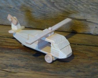 Handmade Wood Toy Blackhawk Helicopter Wooden Toys Kids Child Boy Birthday Gift Present