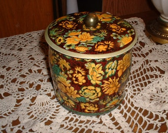Vintage Floral Daher Made in England Tin number 11101 Fall Colors on Brown SALE