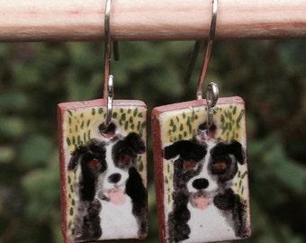Australian Shepherd Portrait Earrings