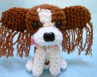 Papillon Crochet Dog in Toffee and White Yarn, Canine, Dog Lover, Stuffed Dog, Amigurumi, Stuffed Animal