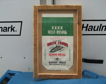 1940s barn wood framed vintage 5lbs. corn meal bag Bishop mills Martinsburg ,W. VA.