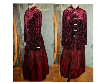 Edwardian Victorian Titanic style dress 3 pc ensemble costume wine velvet jacket skirt blouse top