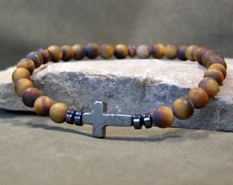 Mens Beaded Bracelet,  Cross Bracelet, Matte Tiger Eye Stones, Mens Jewelry, Mens Gemstone Bracelet, Stack Bracelet, Mens Bracelet