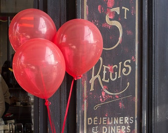 Paris Photography, Red Balloons in Paris ,Cafe St Regis, Ile St Louis, Red, Paris Cafe, Kitchen Art, French Home Decor, Red Art