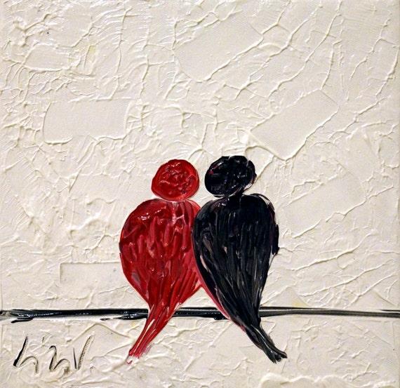 Peinture abstraite rouge noir blanc love birds huile art sur - Photo romantique noir et blanc ...