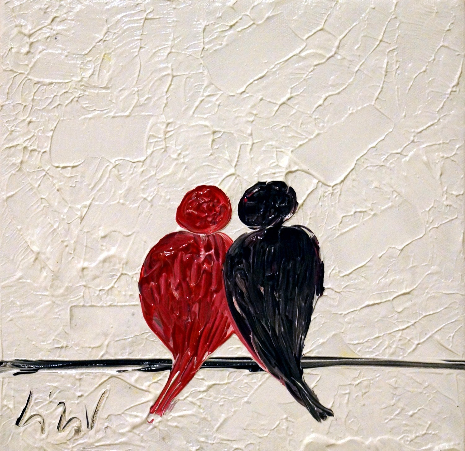 Abstract painting red black white love birds oil art on for Abstract painting on black canvas