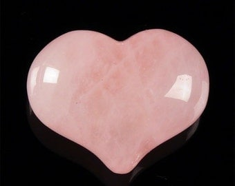 Rose Quartz heart - natural pink crystal gemstone -1 inch  - wire wrap jewelry supplies - puffy round heart 3D rounded - coyoterainbow