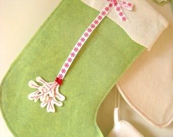Christmas Stocking Green with Snowflake Ribbon