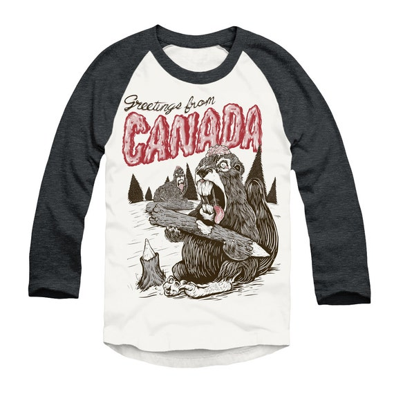 Greetings from Canada (Zombie Beavers)  unisex baseball tee, men or women, screenprint on American Apparel heather black