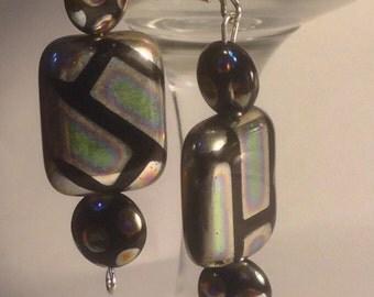 Silver rectangle beads earrings