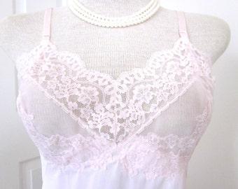1960's Vintage Slip Pink Lace Full Nightgown Mid Century Hollywood Vasserette