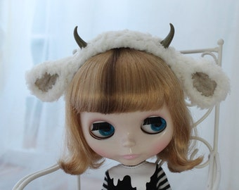 Fluffy Lamb Ears and Horns Headband for SD BJD, Blythe Dolls, 1/3 Goat Animal Ears