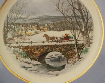 Vintage 1979 Avon Christmas Plate, Wedgwood, Gold Trim, Dashing Through The Snow