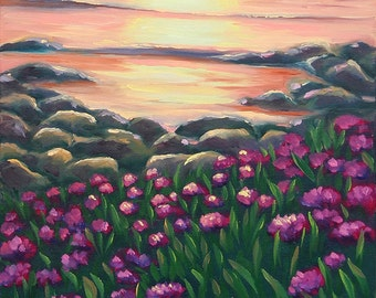 5x7 Greeting Card by Daina Scarola, Item #GC5X7-51 (red clover, purple flowers, sunset, beach)