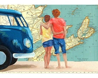 5x7 Greeting Card by Daina Scarola, Item #GC5X7-32 (Nova Scotia map, blue VW, couple, lovers, collage)