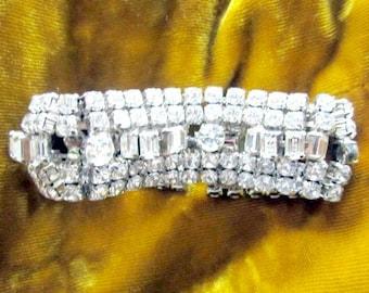 Vintage Rhinestone Cuff Bracelet La Rel Designer Jewelry