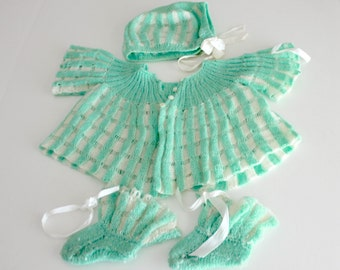 Vintage Baby Sweater Bonnet Booties Green Crocheted 1950s 3 Pc Baby Outfit