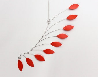 Orange Mobile Sculpture - US SHIPPING INCLUDED Kinetic Leaf Mobile - Great for Small Spaces - 15w x 25t - Calder Inspired P157