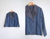 SALE / vintage UNISEX dark blue double-breasted short coat with FLEECE lining. size women's l xl / men's m l.