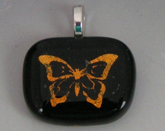 Orange Butterfly Pendant Laser etched dichroic fused glass jewelry w/ cord
