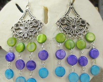 Mother of Pearl shells in a chandelier earring, aqua, purple, green chandelier earrings, summer earrings holiday earrings shell earrings
