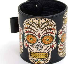 Leather cuff, wallet cuff, wallet wristband - festival sugar skull