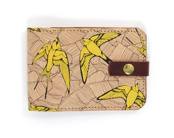Leather card case, Oyster card holder - Yellow Swallows and Leaf