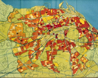 1949 Vintage Map of Proposal for Population Densities for Edinburgh, Scotland, the UK. Colour Your Wall Series