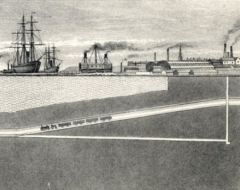 1880s Antique Engraving on the Tunnel under the Mersey at Liverpool, the UK