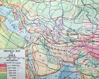 1919 Antique Map of Asia